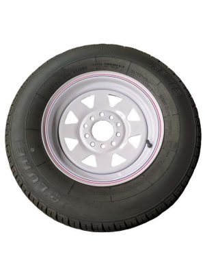 Manutec 175R13 Tyre fitted to Multi-fit WHITE Rim Trailer Caravan Spare Part