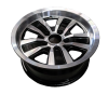 14X6 INCH ALLOY TRAILER WHEEL FORD RIM - BLACK MACHINE FACE TX2