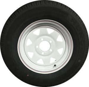 Manutec 185R14LT Tyre fitted to 14 inch White Sunraysia Ford Rim Trailer Caravan