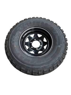 Complete 15″ Landcruiser 6 Stud Trailer Rim & Tyre – Black – 31X10.5 M/T 10ply