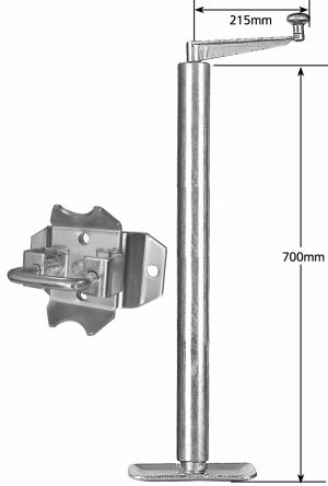 Manutec Heavy Duty Adjustable Stand 675mm loose Swivel Bracket Trailer Caravan