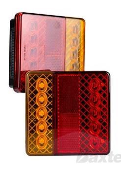 LED Rear Combination Lamp 12V Stop/Tail/Ind/Ref Surface Mount 100 x 100mm Twin Pack with Licence