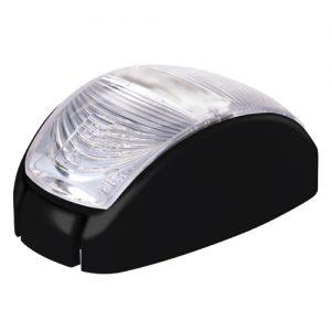 Manutec 10-30V 2 LED Oval 60 X 35MM Clear Lens Black Base Trailer Caravan Part