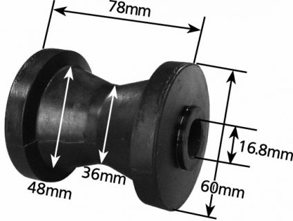 Rubber Boat Rollers 3 inch Cotton Reel, Black with 17mm plain bore Trailer Parts