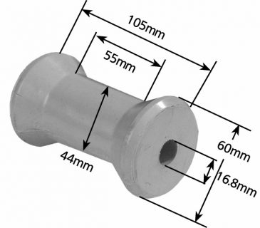 Rubber Boat Rollers 4 inch Cotton Reel Type, Grey with 16mm plain bore Trailer
