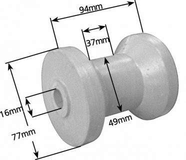 Rubber Boat Rollers 3.5 inch Cotton Reel, Grey with 16mm plain bore Trailer Part
