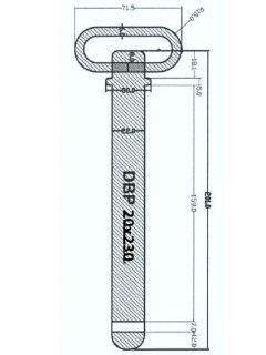 Manutec Draw Bar Pin 20mm x 230mm Trailer Caravan Spare Part