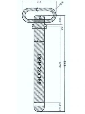 Manutec Draw Bar Pin 22mm x 159mm Trailer Caravan Spare Part