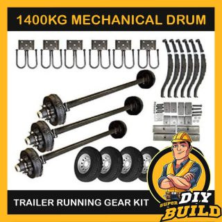 Single Axle Running Gear Kit – Mechanical Drum Brake 1400kg (Parts Only)