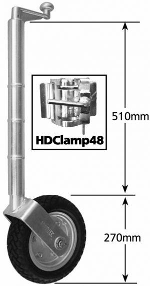 2021 Extra Height Jockey Wheel 10″ Pneumatic Solid R Steel w/ HD Clamp 850kg