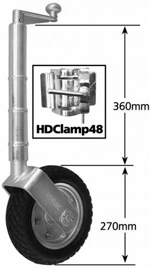 2021 Heavy Duty Jockey Wheel 10″ Solid R Pneu w/ Steel Centre & HD Clamp 850kg