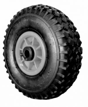 10 in Pneu Wheel, Red Plastic Ctr, 19mm plain bore