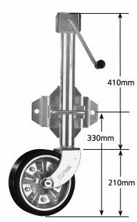 2021 Medium Duty Jockey Wheel 8″ Side Wind Zinc Center w/ Swivel Bracket 700kg