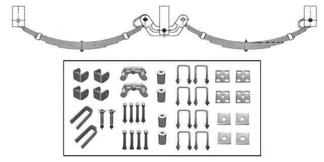 Manutec Roller Rocker Spring Set – 60mmx7mmx8 Leaf, Galv. Trailer Caravan Parts