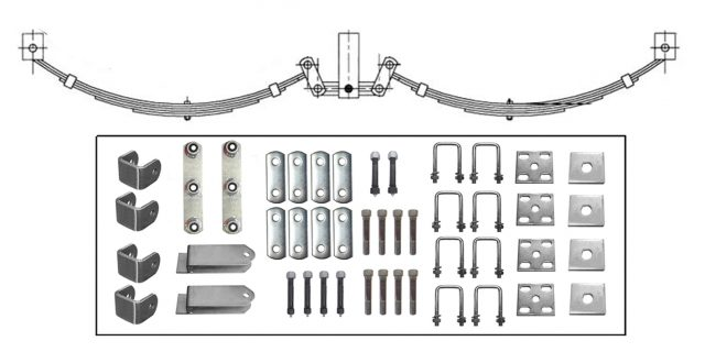 Tandem EYE-EYE  Rocker Spring Set – Offset 4 Leaf – GALV 2200kg per set