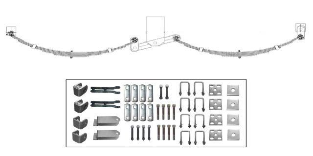 EYE-EYE Rocker Spring Set – Offset 4 Leaf – Galv. 2200kg per set Trailer Caravan