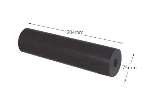 Rubber Boat Roller 8 inch Parallel, Black with 17mm plain bore Trailer Caravan