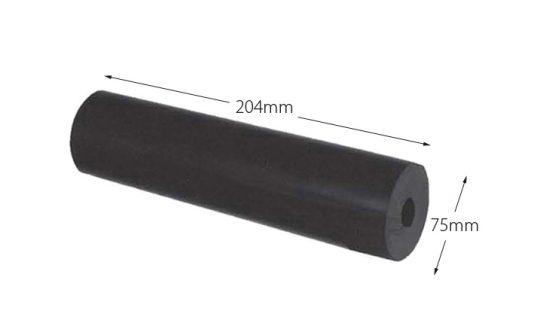 Rubber Boat Roller 8 inch Parallel, Black with 26mm plain bore Trailer Caravan