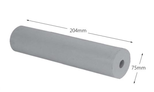 Rubber Boat Roller 8 inch Parallel, Grey with 16mm plain bore Trailer Caravan