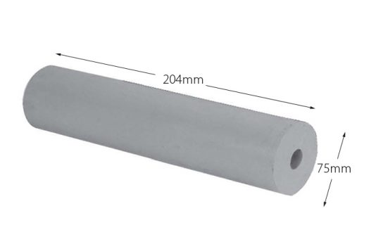 Rubber Boat Roller 8 inch Parallel, Grey with 19mm plain bore Trailer Caravan