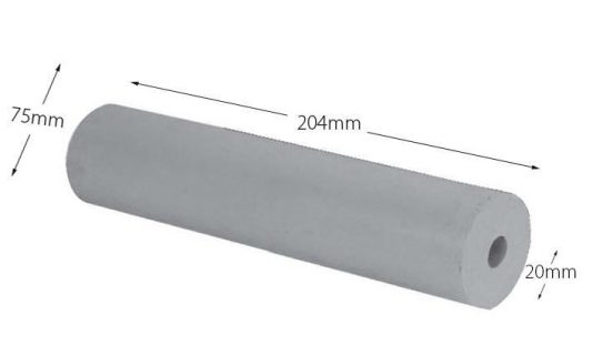 Rubber Boat Roller 8 inch Parallel, Grey with 20mm plain bore Trailer Caravan