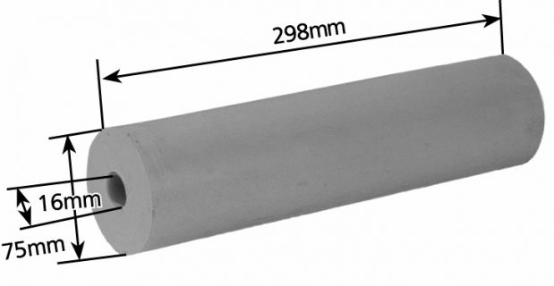 Rubber Boat Roller 12 inch Parallel, Grey with 16mm plain bore Trailer Caravan