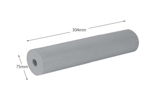 Rubber Boat Roller 12 inch Parallel, Grey with 20mm plain bore Trailer Caravan