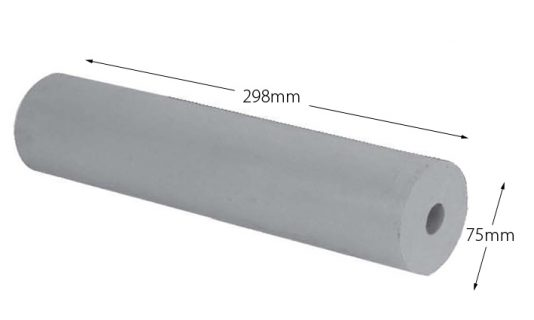 Rubber Boat Roller 12 inch Parallel, Grey with 24mm plain bore Trailer Caravan