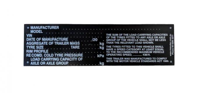 Manutec BLANK VEHICLE IDENTIFICATION PLATE BLACK ON BLACK Trailer Caravan Part