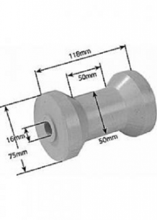 Rubber Boat Rollers 4-1/2 inch Cotton Reel, Grey with 16mm plain bore Trailer