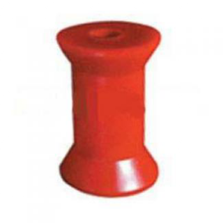Soft Poly Boat Roller 4 inch Keel Roller, Red Poly, 17mm plain bore Trailer Part