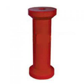 Soft Poly Boat Roller 8 inch Keel Roller, Red Poly, 17mm plain bore Trailer Part