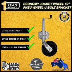 2021 Strong Economic Jockey Wheel 10″ inch Pneumatic U-Bolt Fixing Swivel 350kg