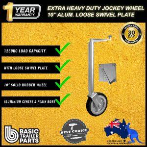 2021 Extra HD Jockey Wheel 10″ Solid R Alum Center w/ Loose Swivel Plates 1250kg