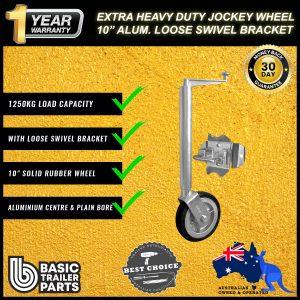 2021 Extra HD Jockey Wheel 10″ Solid R Alum Center w/ Loose Swivel Brkt 1250kg