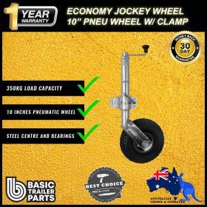 2021 Economic Jockey Wheel 10″ Pneumatic Steel Center & Bearings Clamp On 350kg
