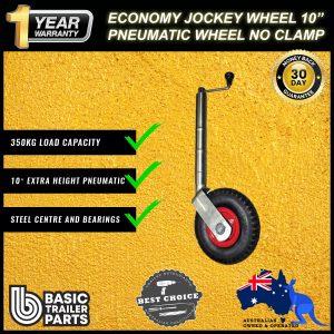 2021 Economic Jockey Wheel 10″ Pneumatic Steel Center & Bearings No Clamp 350kg