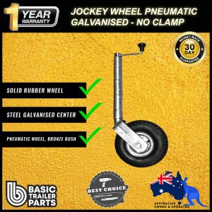 2021 Marine Jockey Wheel 10″ Pneumatic Solid Rubber Steel Centre Galv No Clamp