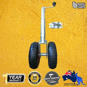2021 Medium Duty Jockey Wheel 10″ Twin Pneu w/ Steel Centre & Clamp 500kg Rated
