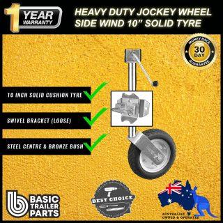 2021 Side Wind Jockey Wheel 10″ Pneu Look Solid R w/ HD Loose Swivel Brkt 1000kg