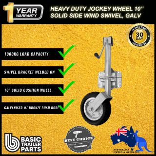 2021 Heavy Duty Jockey Wheel 10″ Side Wind w/ Low Swivel Bracket – Galv 1000kg
