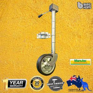 2021 Extra Height Jockey Wheel 8″ Side Wind Zinc Center w/ Bearing & Clamp 700kg