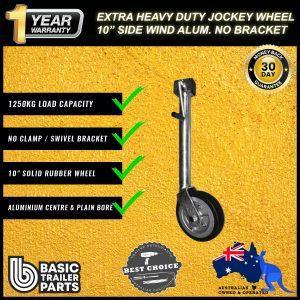2021 Extra HD Jockey Wheel 10″ Side Wind Solid R Alum Center No Bracket 1250kg