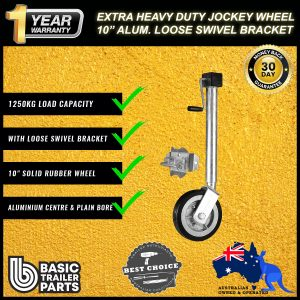 2021 Extra HD Jockey Wheel 10″ Side Wind Solid R w/ Loose Swivel Bracket 1250kg