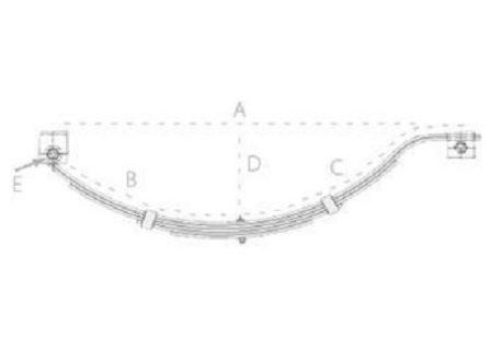 Slipper Spring Set – 45mmx6mmx5 Leaf, Galv