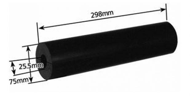 Rubber Boat Roller 12 inch Parallel, Black with 26mm plain bore Trailer Caravan