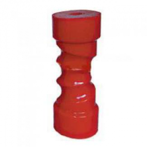 Poly Boat Roller 8 inch Self Centering Roller, Red Poly, 17mm plain bore Trailer