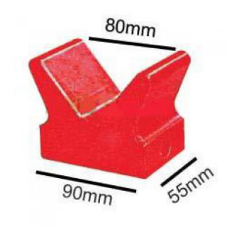 Soft Poly Boat Roller 4 inch V Block, Red Poly, 14mm plain bore Trailer Caravan