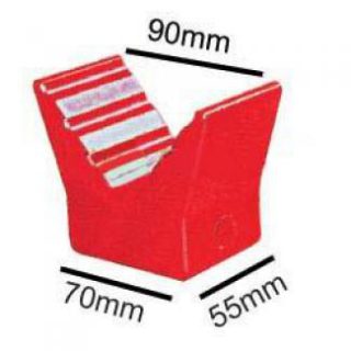 3 inch V Block , Red Poly, 14mm plain bore