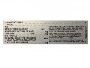 Manutec BLANK VEHICLE IDENTIFICATION PLATE BLACK ON GREY Trailer Caravan Part